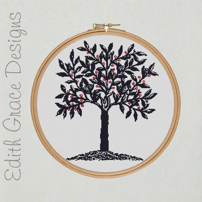 Blue Tree Cross Stitch Pattern image 0
