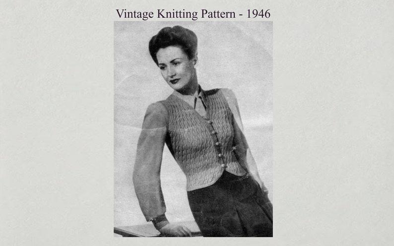 Vintage Waistcoat  Knitting Pattern 1946 image 0