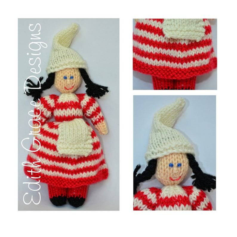 Nordic Christmas Elf Toy Doll Knitting Pattern image 0