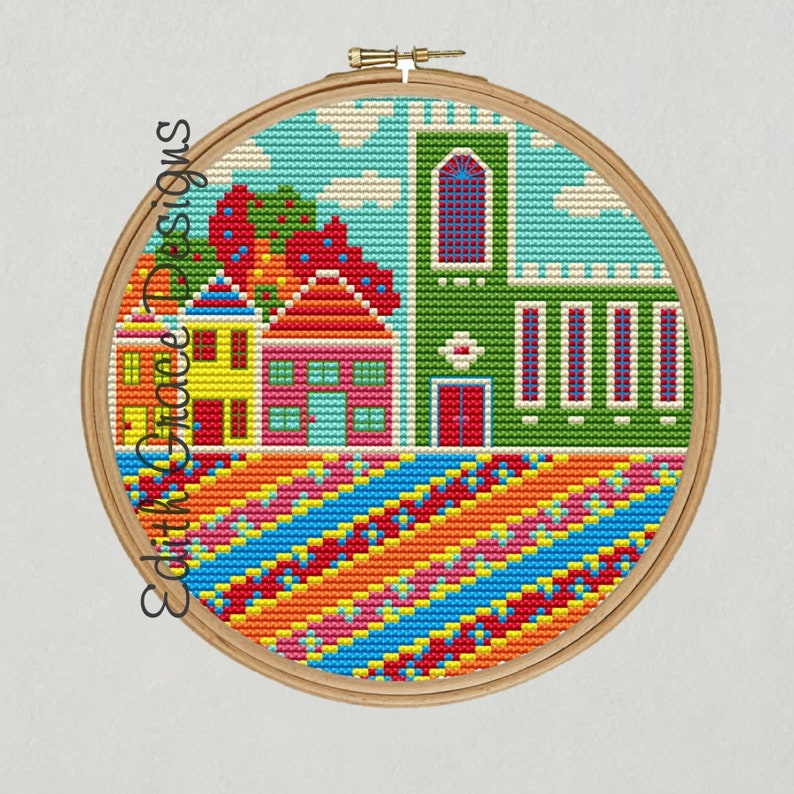 Folk Art Village Cross Stitch Pattern image 1