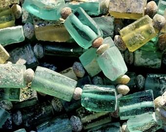 Roman Glass Beads, Silk Road Roman Glass, Rectangular Ancient Roman Glass Beads, Mineral Patina Glass Beads, LAST full Strand kbdesignsetc