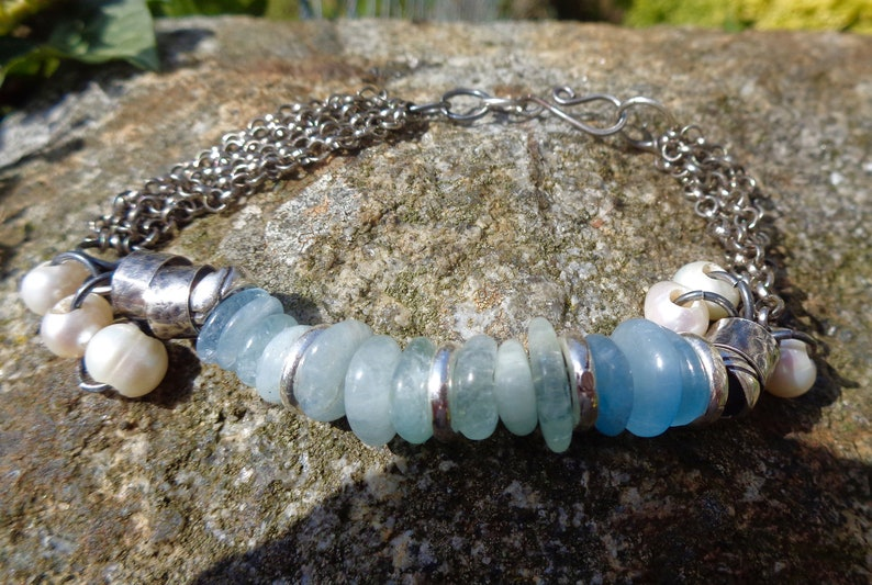 sterling silver multi chain artisan charm bracelet Raw silver Aquamarine gemstone bracelet Aquamarine freshwater pearls