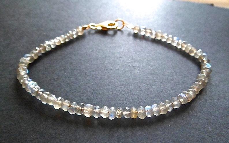 labradorite gold bracelet minimalist beaded stacking bracelet gemstone jewellery