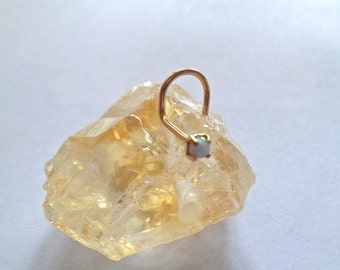 Opal jewelry, Opal 14k solid gold nose screw, nose piercing,nose ring, yellow gold