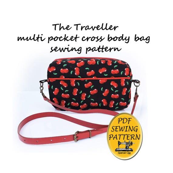 Bag Sewing Pattern The Traveller Cross Body Multi Pocket Etsy