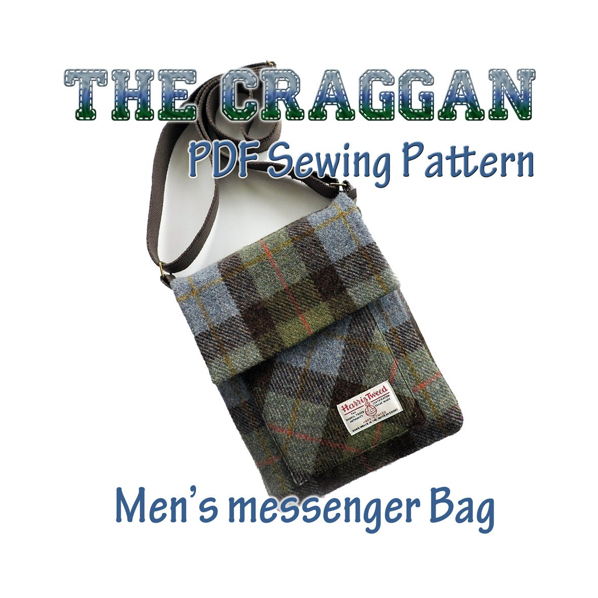 The Craggan mens messenger bag pattern. iPad bag man bag