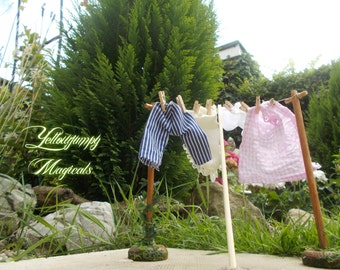 """1/12th dollhouse miniature Washing Line """"Blowing in the breeze"""" SALE 40% OFF"""