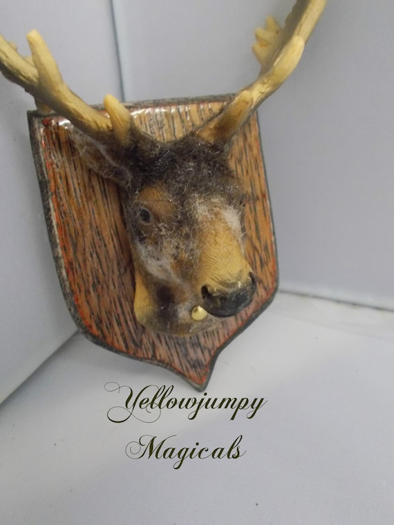 Deer Head with Antlers Trophy Dollhouse Miniature Cabin Lodge Fireplace