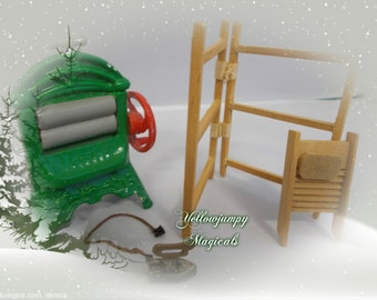 1/12th dollhouse washing/laundry mangle clothes maid,scrubber, SALE 40% OFF