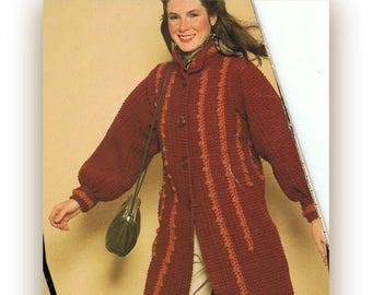 Women's 1970's Crochet Coat - Vintage Button Down Jacket -  PDF Crochet Pattern Instant Download