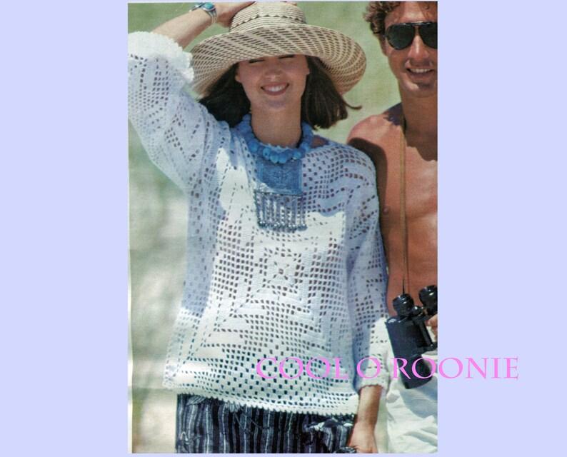 Patterns for Crochet Womens Filet Top Crochet Vintage Ladies Summer Thread Crochet Pattern PDF Crochet Pattern