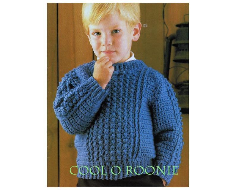 Boys Crochet Sweater Pattern Crochet Child Boys Sweater With Etsy