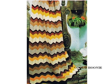 Vintage Ripple Crochet Afghan Pattern Easy to Follow Beginners Crochet Pattern Instant Download