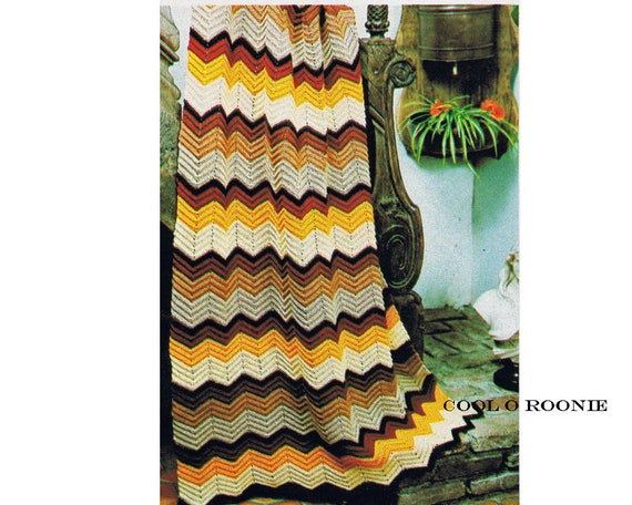 Vintage Ripple Crochet Afghan Pattern Easy To Follow Beginners Etsy