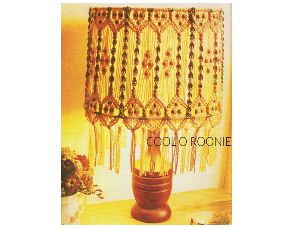 Macrame Lamp Shade Pattern Vintage 70s Home Decor Digital | Etsy