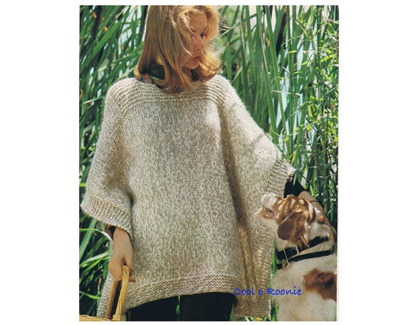 Poncho Knitting Pattern Womens Vintage Easy Knitting One Size Fits All Digital Pattern Instant Download