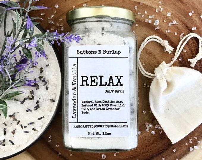 RELAX BATH SALTS- Lavender/Vanilla/Dried Lavender Buds-12oz.
