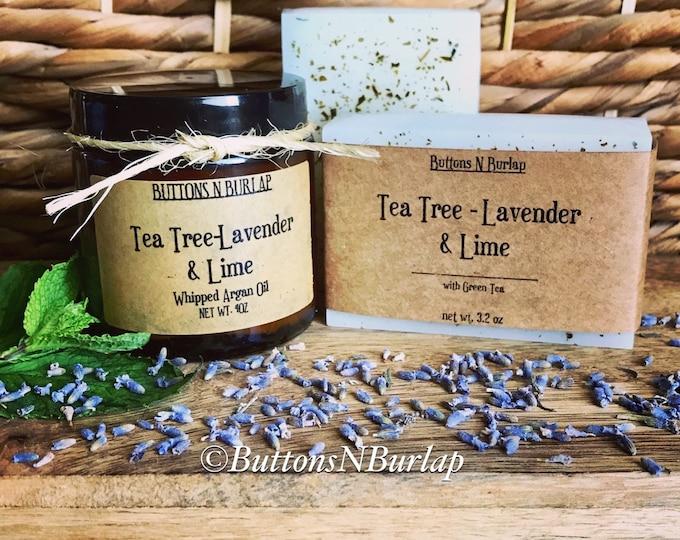 Tea Tree & Lavender Set- Organic Goats Milk Soap/Tea Tree Face Cream