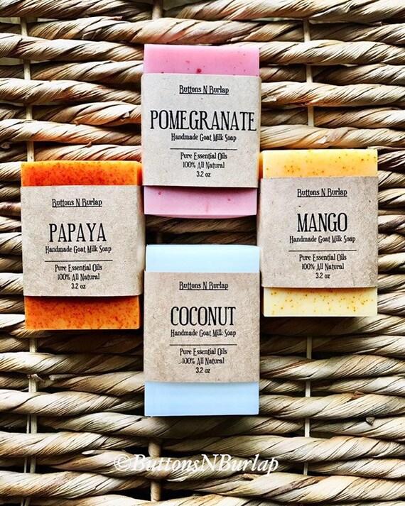 TROPICAL SOAP COLLECTION -Papaya/Coconut/Mango/Pomegranate