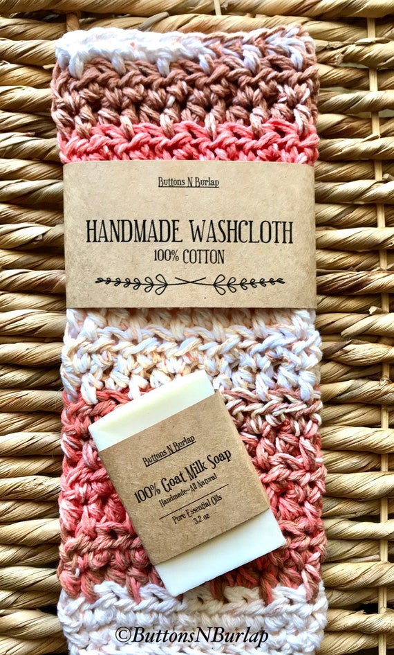 BATH SET- Organic Goats Milk Soap Bar & 100% Cotton Washcloth