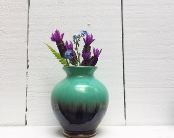 German pottery bud vase 5 11  10 - blue, turquoise and brown