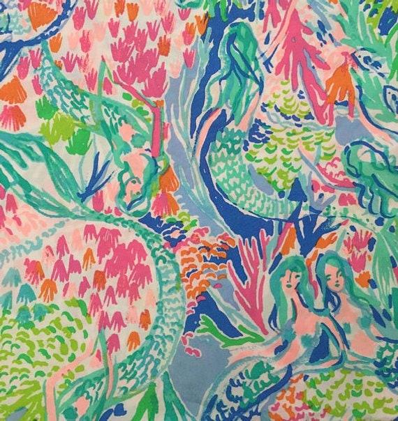 Lilly Pulitzer Pottery Barn Mermaid Cove Fabric 18 X Etsy