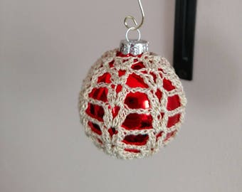Christmas Ball ornament with Crocheted cover