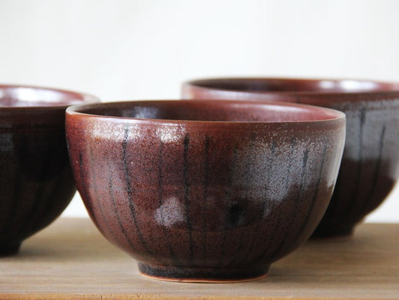 Brown Ceramic Stoneware Soup Bowls Asian Flair Modern Etsy