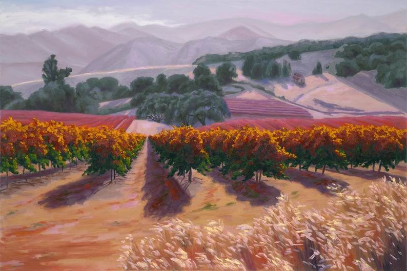 Ceramic Art Tile CA by Laurel Sherrie Gibbs/' Vineyard in Paso Robles