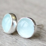 Aquamarine Earrings // Sterling Silver Aquamarine Stud Earrings // March Birthstone Earrings // 6mm Gemstone Earrings