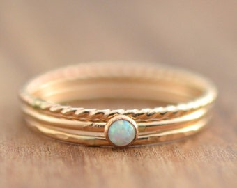 14K Gold Filled White Opal Stacking Ring Set // Gold Opal Ring // 3mm Opal Ring // October Birthstone Ring // Gemstone Ring // Gift for her