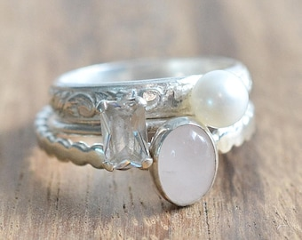 Sterling Silver Stacking Ring Set // Sterling Silver Rose Quartz, Pearl, and Emerald Cut CZ Ring Set // White Freshwater Pearl Ring Set