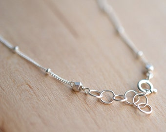 Sterling Silver Bead Chain Necklace // Plain Silver Necklace // Add your Own Charm // Plain Sterling Silver Chain // Choose Your Length