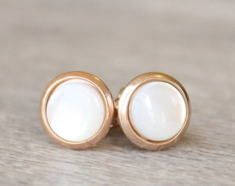 Rose Gold Pearl Earrings // Mother of Pearl Stud Earrings // 6mm Mother of Pearl Cabochon Earrings // Gemstone Studs // Stainless Steel