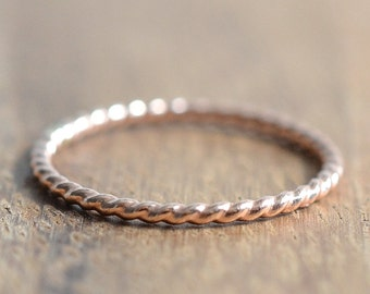 14K Rose Gold Filled Twist Ring // Simple Rose Gold Rope Ring // Stacking Ring // Rose Gold Spacer Ring // Create Your Own Stacking Ring Set