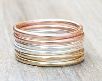 Stacking Rings // Create Your Own Stacking Ring Set // Sterling Silver, Rose Gold Filled or Yellow Gold Filled Stackable Rings