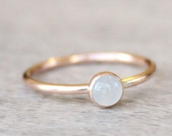 Rose Gold Aquamarine Ring // Genuine Aquamarine Stacking Ring // March Birthstone Ring // Rose Gold Filled Ring // Sky Blue Stone Ring