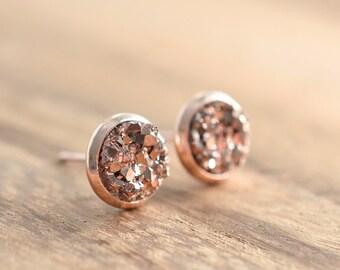 Rose Gold Druzy Earrings // Faux Druzy Earrings // 8mm Druzy Stud Earrings // Rose Gold Bridesmaids Earrings // Pink Gold Earrings