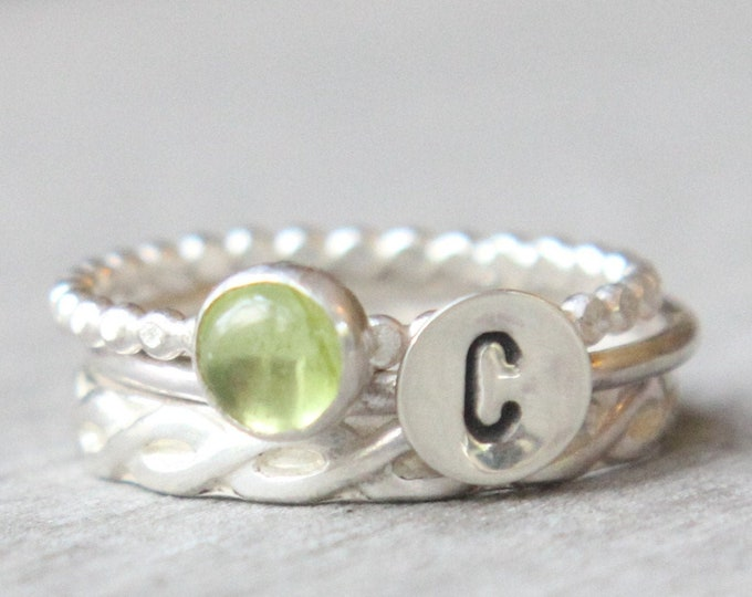Featured listing image: Peridot Ring Set // Gemstone Initial Ring Set // Set of 3 Sterling Silver Gemstone Rings // August Birthstone Stacking Rings