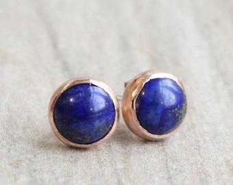 Rose Gold Lapis Lazuli Earrings // Lapis Lazuli Stud Earrings // 6mm Cabochon // 14k Rose Gold Filled Gemstone Studs // September Birthstone