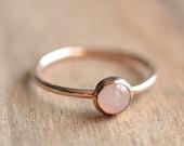 Rose Quartz Ring Rose Gold Rose Quartz Ring Rose Gold Ring Stacking Ring 14K Rose Gold Filled Rose Quartz Ring