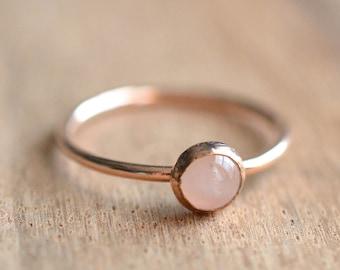 Rose Quartz Ring // Rose Gold Rose Quartz Ring // Rose Gold Ring // Stacking Ring // 14K Rose Gold Filled Rose Quartz Ring