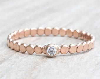 Flat Bead Ring with Gemstone // Dot Gemstone Ring  // April Birthstone Stacking Ring // Rose Gold Gemstone Ring