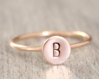 Rose Gold Initial Ring // 14k Rose Gold Filled Letter Ring // Initial Stacking Ring // Personalized Rose Gold Ring // Monogram Ring