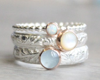 Gemstone Stacking Ring Set // Mother of Pearl Opal and Aquamarine Rings // Sterling Silver and Rose Gold Gemstone Rings // Mother's Ring Set
