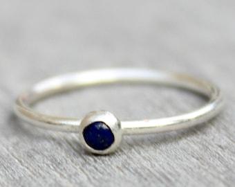 Sterling Silver Lapis Lazuli Ring // Silver Lapis Lazuli Stacking Ring // September Birthstone Ring // Tiny Gemstone Ring // Blue Stone Ring
