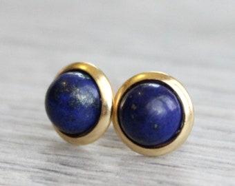 Gold Lapis Lazuli Studs // Yellow Gold Lapis Earrings // Cobalt Studs // 6mm Gemstone Earrings // Gold Plated Gemstone Studs