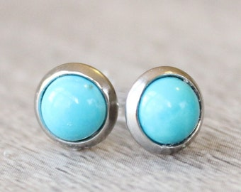 Silver Turquoise Earrings // Turquoise Stud Earrings // 6mm Turquoise Cabochon Earrings // Silver Gemstone Studs // Stainless Steel