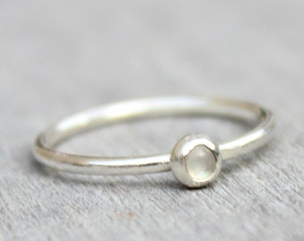 Moonstone Ring // Sterling Silver Moonstone Ring // June Birthstone Ring // Genuine Rainbow Moonstone Ring // Tiny Gemstone Ring // Stacking