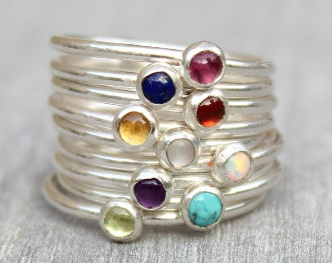 Featured listing image: Sterling Silver Gemstone Rings // Stacking Rings // Birthstone Rings Amethyst Opal Lapis Lazuli Peridot Garnet Moonstone Citrine Tourmaline